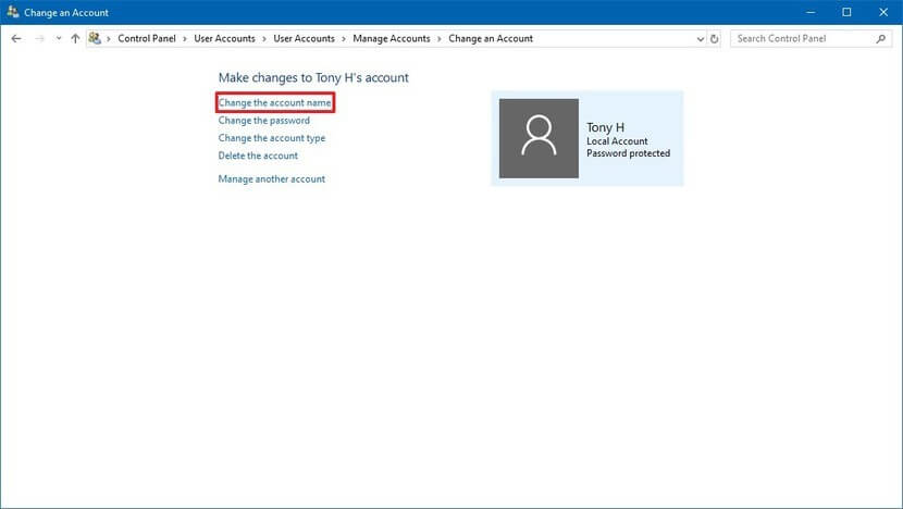 How to Change User Name Windows 10